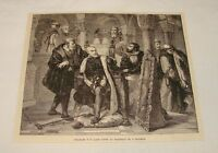 1887 magazine engraving ~ CHARLES V'S LAST LOOK IN MIRROR