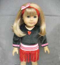 """18"""" American Girl: Doll Clothes - Black Top Flapper Dancing Dress w/ Red Fringe"""
