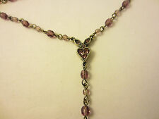 Napier Purple Glass Rhinestone Beaded Necklace 17 Inch Adjustable Pewter Choker