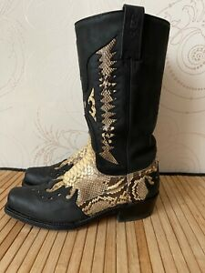 Vaquero Vintage Cowboy Boots Leather Patchwork Python Shoes Size US 9 EU 40
