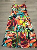 Pretty PER UNA MARKS AND SPENCER Colourful Bright Long Maxi Dress UK 12 Holidays