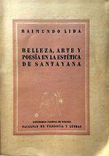 RAIMUNDO LIDA BELLEZZA ARTE Y POESIA EN LA ESTÉTICA DE SANTAYANA UNIVERS TUCUMÁN