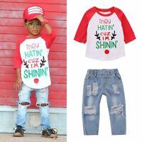 2PCS/Set Toddler Baby Kids Boys Outfits T-shirt Tops+Hole Denim Pants Clothes