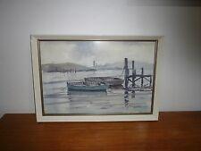 VINTAGE MELBOURNE SEASCAPE WATERCOLOUR  BY WALTER MELTON  UNDERWOOD 1907-1990