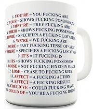 Ceramic Coffee Mug 11 Ounce 16 Funny Expletive Grammar Rules Novelty Gag Gift