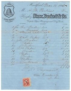 Connecticut: Hartford 1862 Starr Burkett Carpets Invoice + Revenue Bee Hive Logo