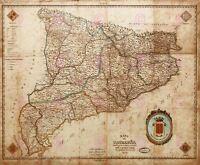 Map Indar 1859 Catalonia Barcelona Old Large Canvas Art Print