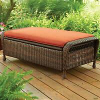 Outdoor Storage Ottoman Garden Patio Wicker Seat Backyard Bench Home Furniture