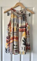 MARKS AND SPENCER M&S CREAM PRINT CHIFFON TOP UK 12 NEW