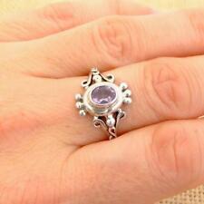 Bali 925 Sterling Silver Cut Amethyst Ring UK Size P 1/2-US 8 Jewellery