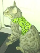 LAND O BURNS BENGALS CAT HARNESS / WALKING JACKET LIME GREEN ANIMAL PRINT- LARGE
