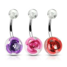 Button Navel Bar Barbell Rings Piercing Jewelry 3 lot Rose in Clear Ball Belly