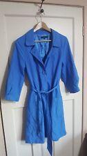Betty Jackson Studio Blue Trench Coat Mac Jacket Size 10 Lightweight