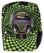 Star Point Tech Ready Green & Blue Checker School Backpack Studio Headphones