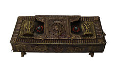 Chinese Metal Rectangular Bead Dimensional Motif Incense Burner Container cs3064
