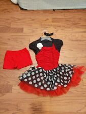 Girls Weismann Figure Skating Dance Dress Tutu Black & Red White Polka Dots MC