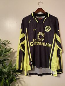 BORUSSIA DORTMUND 1996/97 Away Nike Football Shirt XL Vintage Soccer Jersey LS