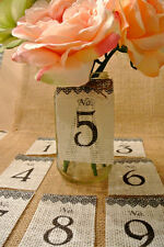 TABLE NUMBERS BURLAP 1-15 Wedding Centerpiece Mason Jars Country Rustic Vintage