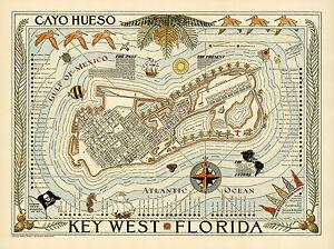 Cayo Hueso Key West Florida Map Vintage Travel Poster Art Print Repro