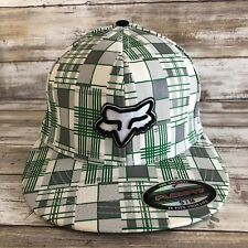 NEW S/M Fox Racing Flexfit Fitted Hat Green Gray Plaid Cotton Spandex Mens