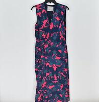 Women's Jason Wu Wrap Front Crepe Dress Geranium Pink Floral, Size 8