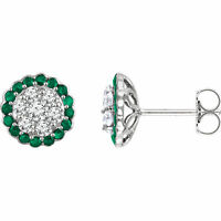 Natural Emerald Gems & 5/8 ctw Diamonds Halo Style 14K White Gold Studs Earrings