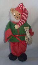 """Vtg 7"""" Porcelain & Felt Santa Claus List Teddy Bear Christmas Tree Ornament"""