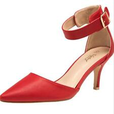 NEW WOMEN SIZE 7 VOSTEY POINTED TOE LOW HEEL RED DRESS SHOES W/ANKLE STRAP PUMPS