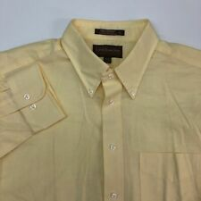 Loft & BrownStone Dress Shirt Mens 16.5 Yellow Fitted Single Needle Oxford