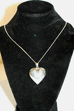 3D Sterling Silver Hollow Heart Shaped Pendant Necklace 925 Love s46
