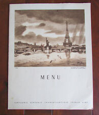 Vintage Restaurant Lunch Dinner Menu SS Antilles French Cruise Ship Line 1954