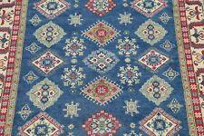 ROYAL BLUE Super Kazak Oriental Area Rug Geometric Diamond Shape Hand-made 7x10