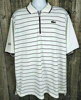 Lacoste Sport Men 1/4 Zip Perforance Polo Shirt Sz 8 3XL White Stripe Polyester