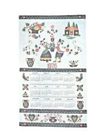 Vintage 1976 Folk Art Pennsylvania Dutch Calendar Dish Tea Towel Sz 28 X 16 In