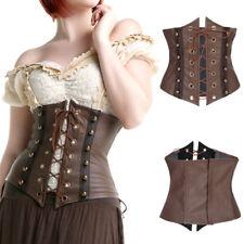 Brown Faux Leather Gothic Steampunk Waist Shaper Clinch Corset Underbust Bustier
