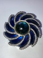 Costume Jewellery Blue Cabochon Enamel Swirl Silver Tone Brooch With Scarf Clip