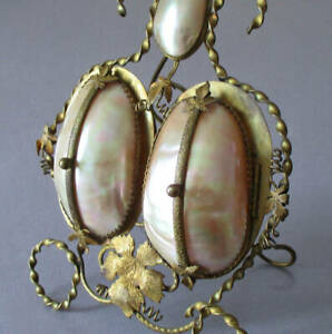 Antique French VICTORIAN Mother of Pearl MOP SHELL + Brass Double FRAME w Easel