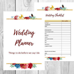 Printable Personalised Wedding Planner - Planning Kit and Checklists -floral