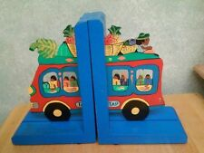 HAND PAINTED WOODEN TROPICAL TAP BUS BOOKENDS COLORFUL