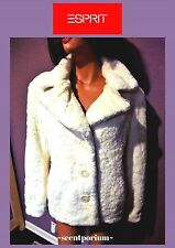 NWT ESPRIT Designer Women's Ivory FUZZY Faux Fur Warm Winter Jacket Coat L