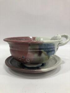 Cute Heart Stoneware Glaze Colander Strainer Berry Bowl & Saucer Signed