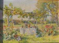 Franz Hohenberger attr., Schrebergerten an der Donau in Wien, Öl auf Holzplatte