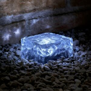 Auraglow 4 x LED Frosted Glass Solar Garden Brick Lights for Paving or Decking