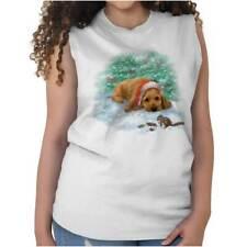 Santa Claus Cocker Spaniel Cute Shirt | Funny Dog Christmas Sleeveless T Shirt