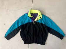 Quiksilver VTG Surf Jacket Large Skate 80s 90s Neon Blue Yellow Sweater Hippie