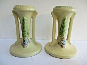 Roseville La Rose 1051-4 Candle Sticks Pair