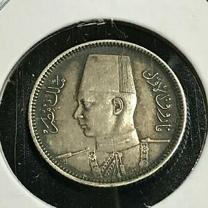 1937 EGYPT SILVER 2 PIASTRES NICE COIN