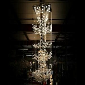 Contemporary Grand Floating Crystal Column Chandelier Luxury Hall Stairs Light