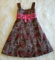 Bonnie Jean Girl's Size 5 Brown & Pink Summer Sundress Beachy Dress Lined NICE!!