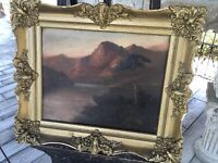 ANTIQUE OIL ON CANVAS PAINTING SIGNED BY B SHAW ORIG. FRAME MOUNTAINS RIVER